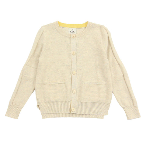Light Beige Textured Knit Cardigan