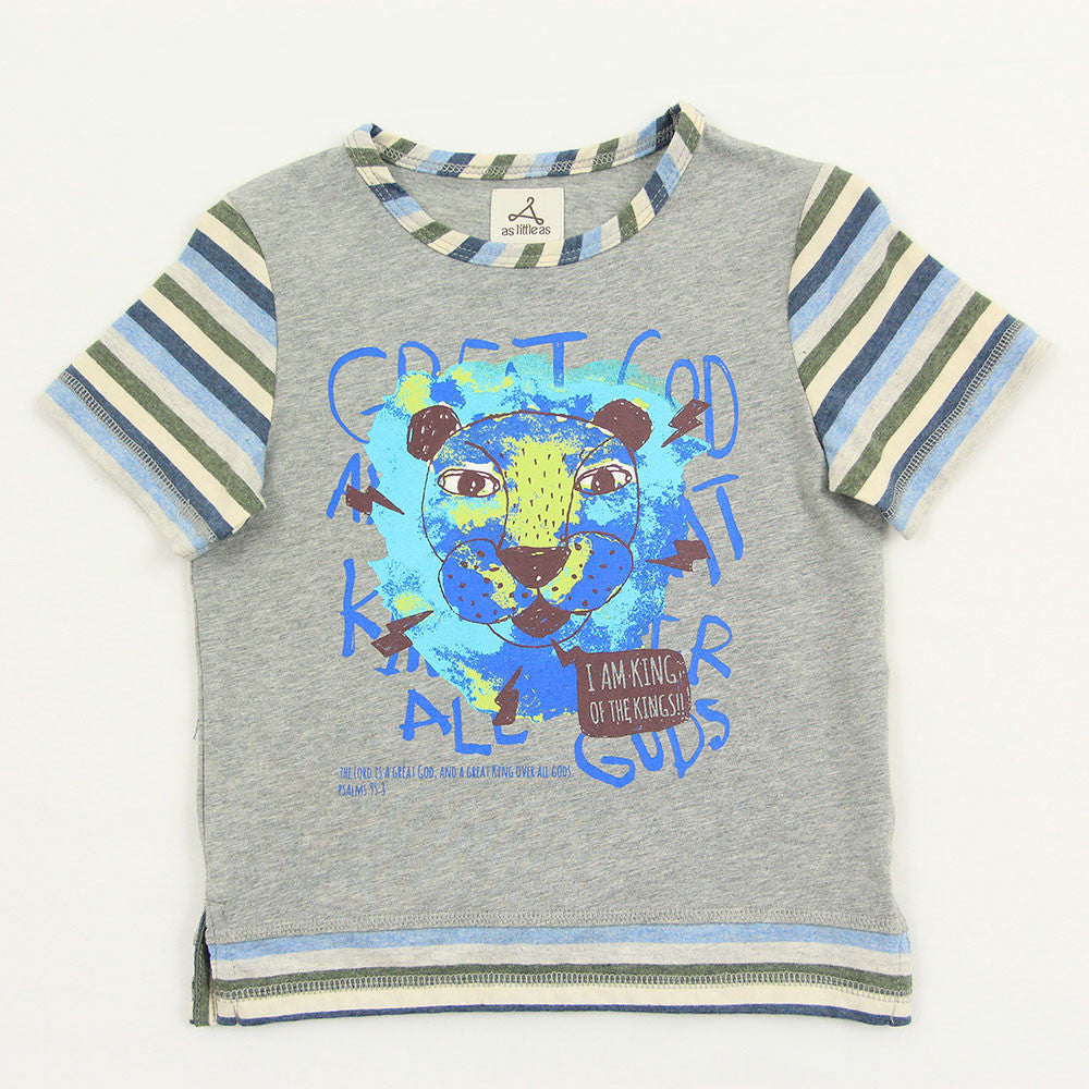 "Boy Grey 2-in-1 Graphic Tee - ""King of Kings"""
