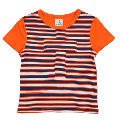 Boy Orange Stripes 3D Cross Tee