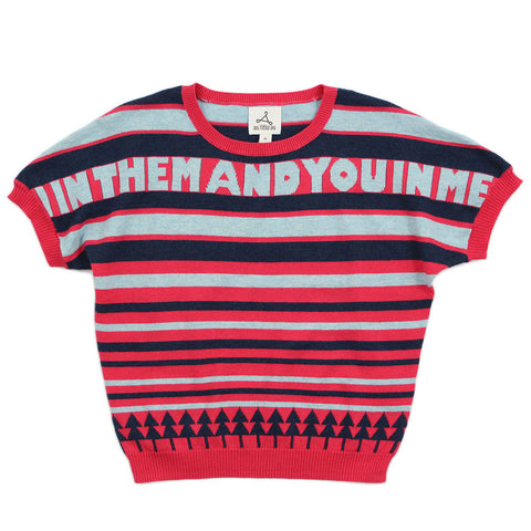 "Red Multi Stripes Cotton Jumper - ""In HIM"""