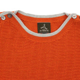Boy Orange Textured Boat Neck Short Sleeves Cotton Jumper
