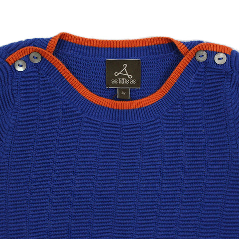Boy Blue Textured Boat Neck Short Sleeves Cotton Jumper