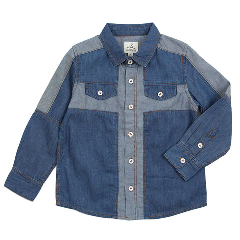Boy Denim Blue Shirt with Cross