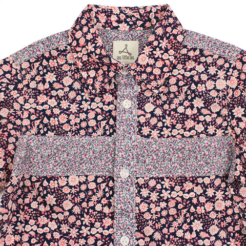Boy Red Foral Short Sleeves Shirt