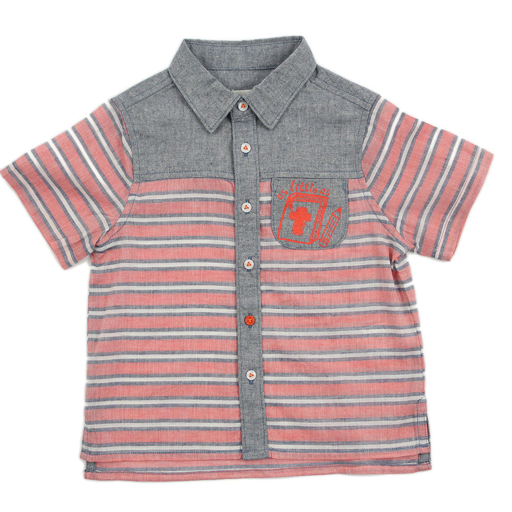 "Boy Red Stripes Short Sleeves Shirt - ""Bible In Your Heart"""