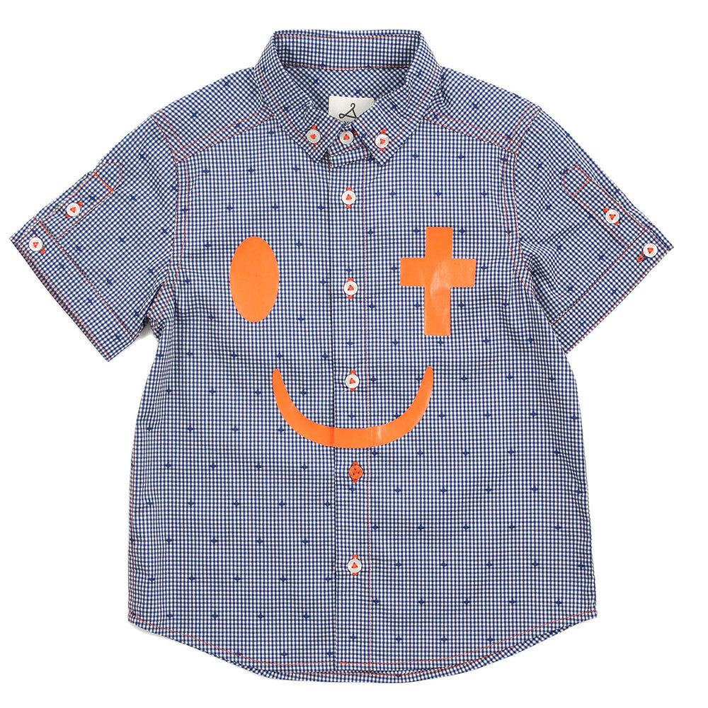 "Boy Blue Check Short Sleeves Shirt - ""Joy in Christ"""