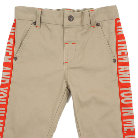 Boy Beige Contrast Panel Trousers - _œI In Them And You In Me_?