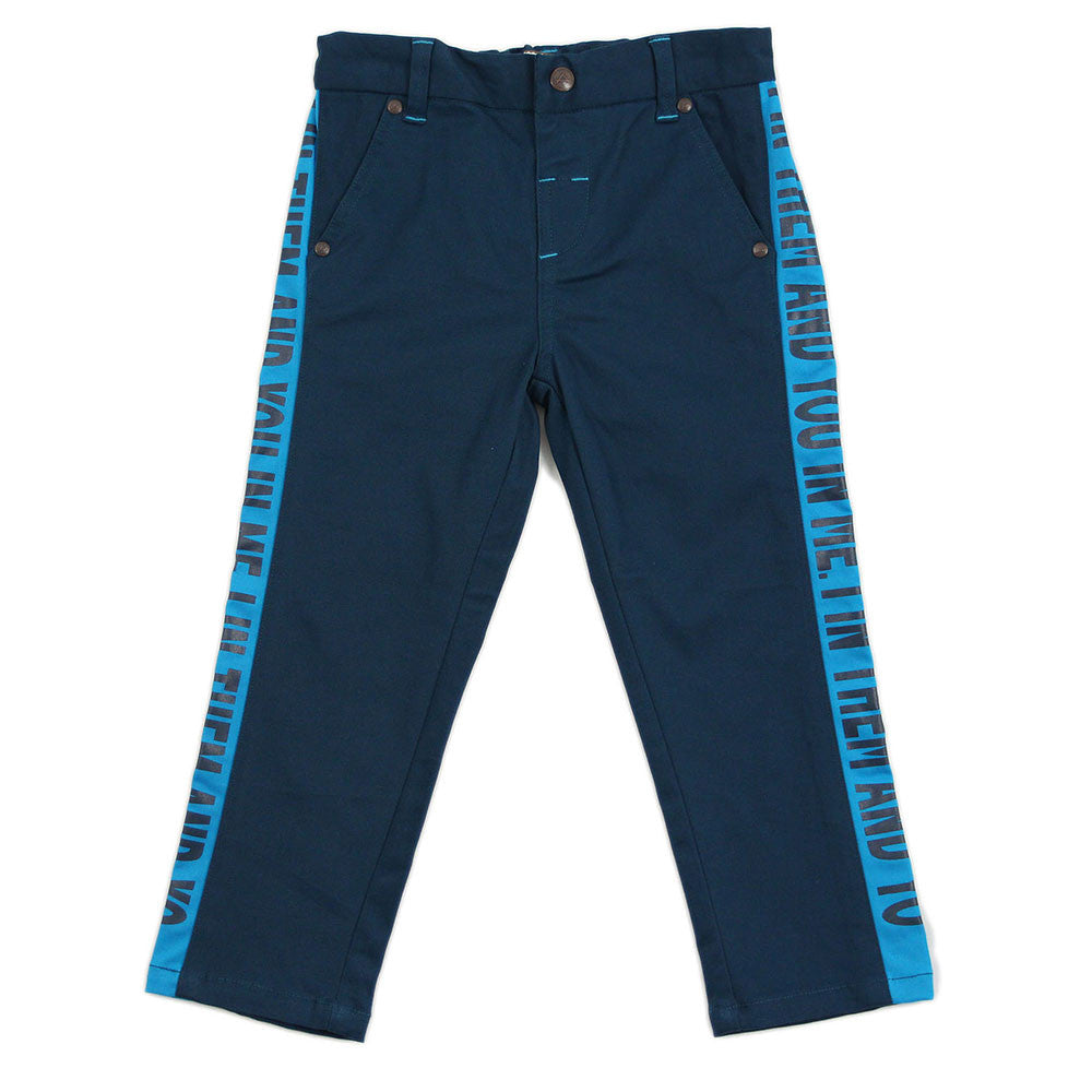 Boy Navy Blue Contrast Panel Trousers - _œI In Them And You In Me_?