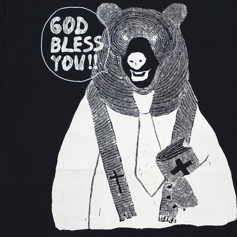 "Dad Size - Navy Blue Graphic Tee - Rev. Bear - ""GOD BLESS YOU"""