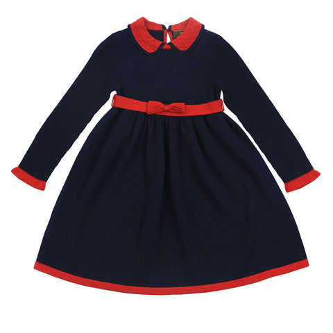 Navy Textured Wool Blend Dress With Bow Belt