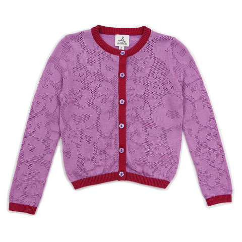 "Purple ""LOVE"" Lace Pattern Cardigan"