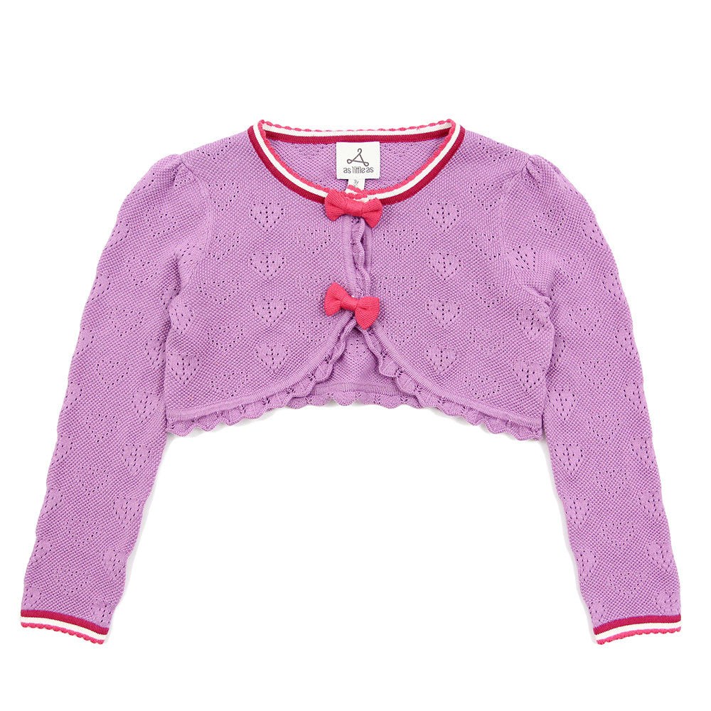 Purple Cross and Heart Cropped Cardigan