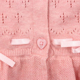 Light Pink Ruffles Hem with Bow Cardigan