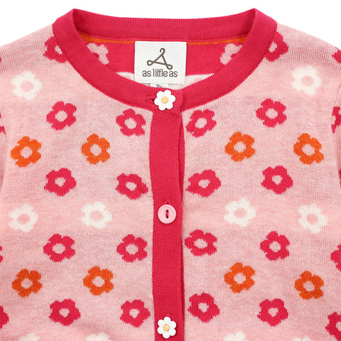 Light Pink Flower Pattern Cotton Cardigan