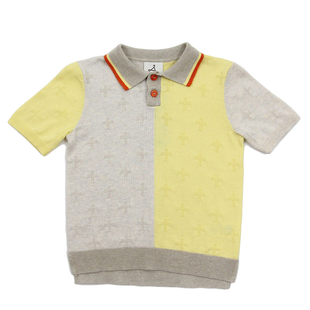 Yellow Cross Color Cotton Knit Polo