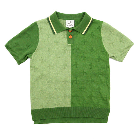 Green Cross Color Cotton Knit Polo