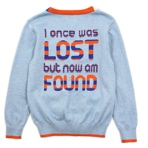Boy Orange Cross Pattern Cotton Cardigan