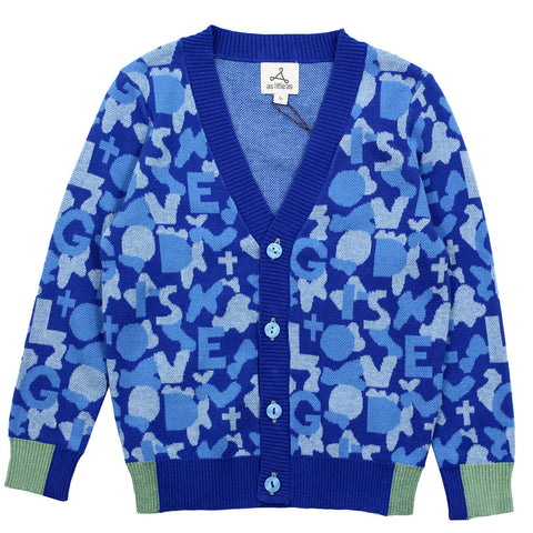 Royal Blue Camouflage Cotton Knit Cardigan