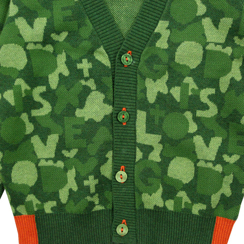Green Camouflage Cotton Knit Cardigan