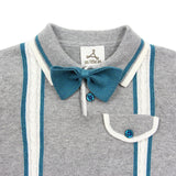 Light Grey Cable Cotton Knit Polo with Bow