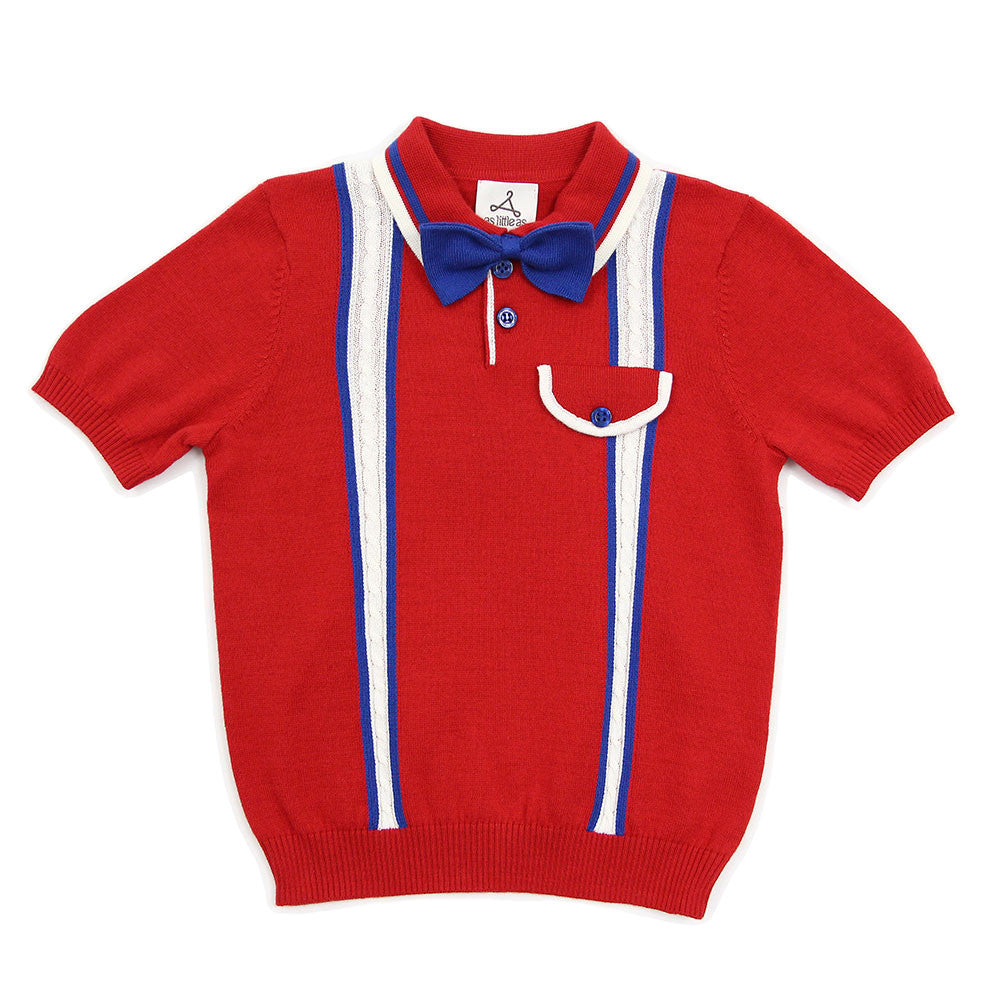Red Cable Cotton Knit Polo with Bow