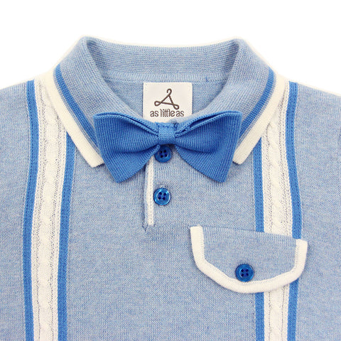 Blue Cable Cotton Knit Polo with Bow