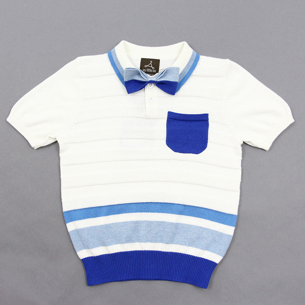 White Striped Knit Polo with Bow