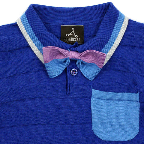 Royal Blue Striped Knit Polo with Bow