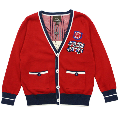 "Red ""London Bus"" Cotton Knit Cardigan"