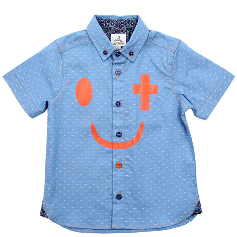 Boy Denim Light Blue Shirt with Cross