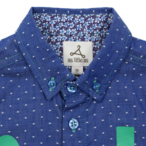 "Royal Blue ""Joy In Christ"" Dots Short Sleeves Shirt"