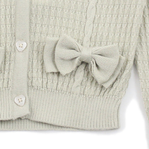 Beige Textured Cable Knitted and Bows Cardigan