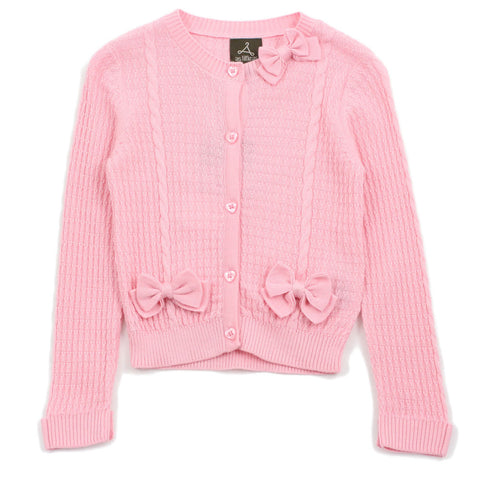 Pink Textured Cable Knitted and Bows Cardigan