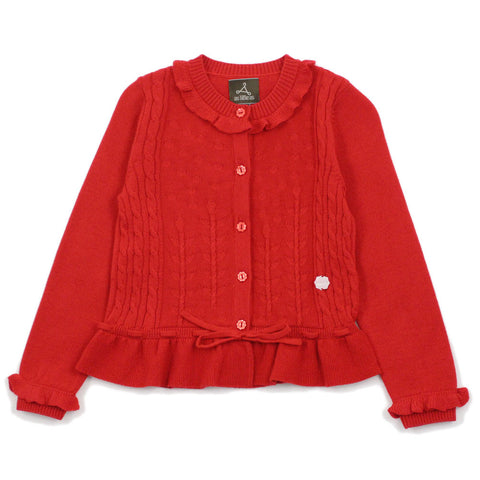 Red Floral Stitch Wool Blend Cardigan