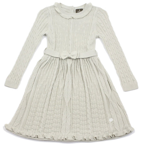 Beige Floral Stitch Wool Blend Dress With Belt