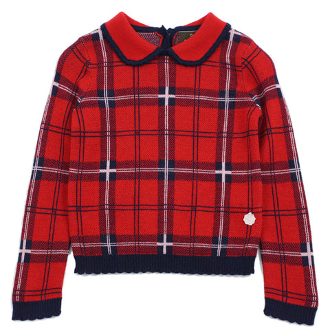 Red Girl Scotland Check Wool Blend Sweater