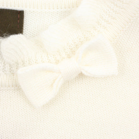 White Ruffle Collar Wool Blend Sweater