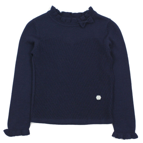 Navy Ruffle Collar Wool Blend Sweater