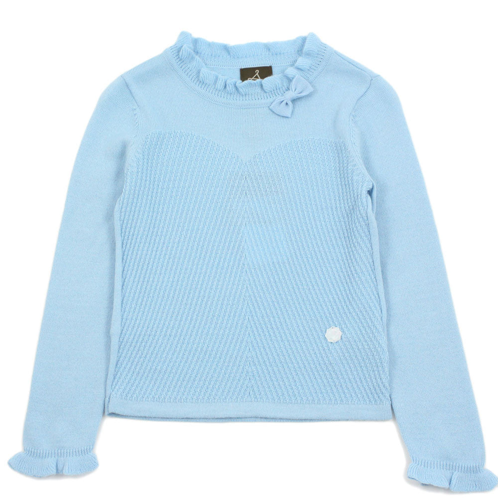 Baby Blue Ruffle Collar Wool Blend Sweater