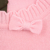 Pink Textured Wool Blend With Bow Sweater