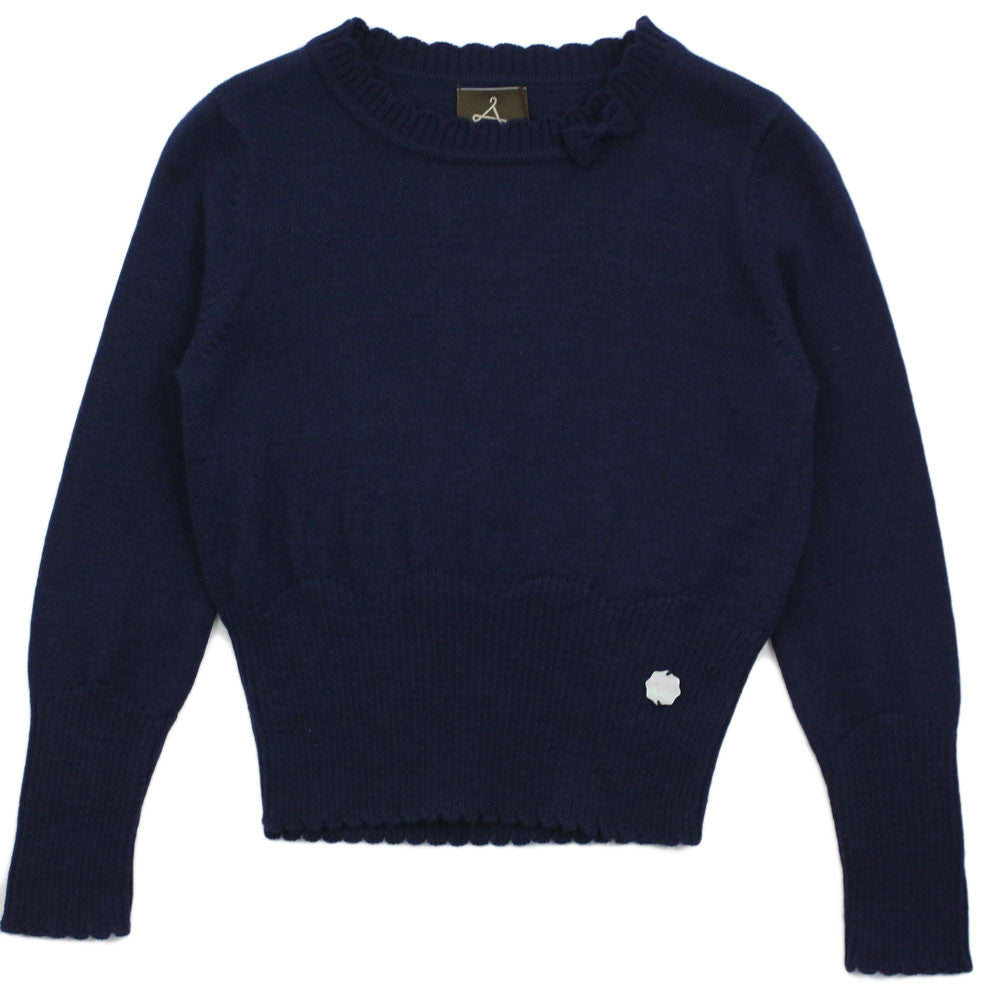 Navy Textured Wool Blend With Bow Sweater
