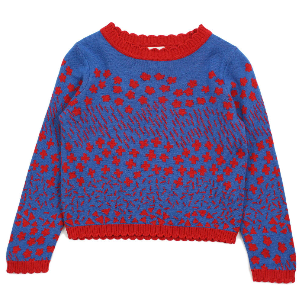 "Blue ""Cross and Heart"" Pattern Wool Blend Sweater"