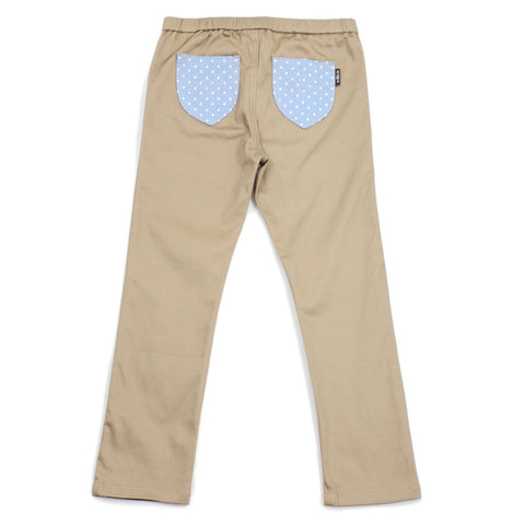 Taupe Polka Dots Cotton Pocket Jeggings