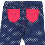 Navy Polka Dots Cotton Jeggings