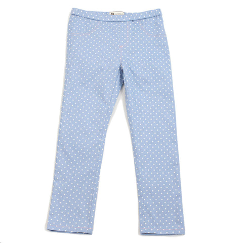 Baby Blue Polka Dots Cotton Jeggings