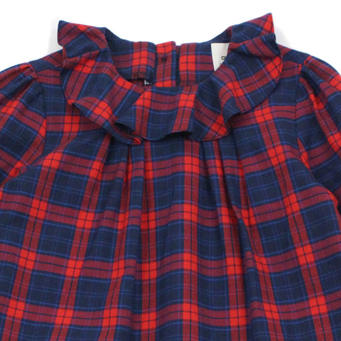 Red Check Ruffle Collar Dress