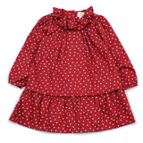 Red Mini Hearts Ruffle Collar Dress