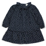 Navy Mini Hearts Ruffle Collar Dress