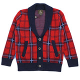 Red Scotland Check Shawl Collar Wool Blend Cardigan