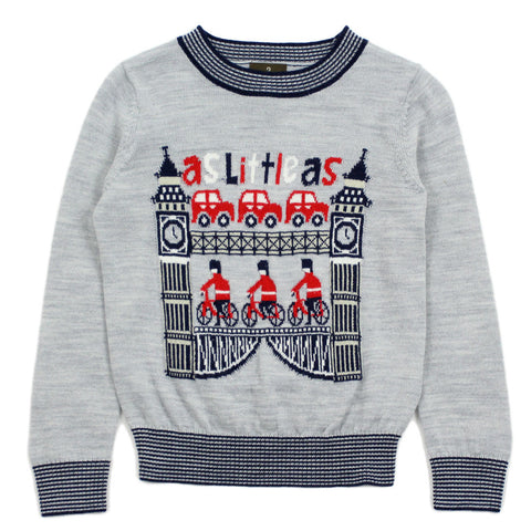 Grey Big Ben Soldier Wool Blend Sweater
